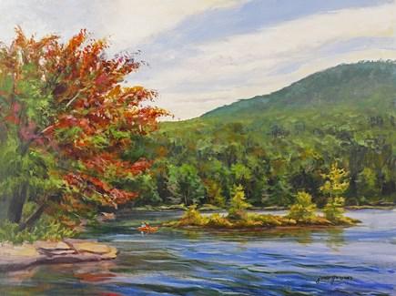 """North Lake in Autumn with a Kayak"" original fine art by Jamie Williams Grossman"