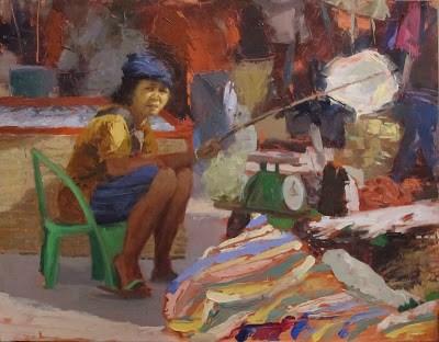"""Laos Market, Phon Phisai, THAILAND"" original fine art by Helen Cooper"