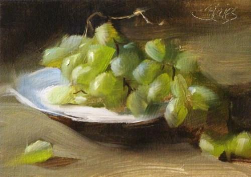 """""""Green Grapes"""" original fine art by Pamela Blaies"""
