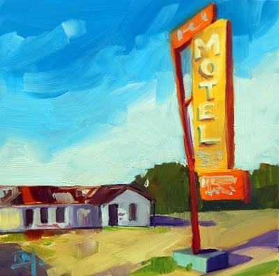 """No 651 The Old Motel"" original fine art by Robin J Mitchell"