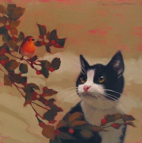 """Tuxi Sees Bird, Not enough time?  Repeat this mantra."" original fine art by Diane Hoeptner"