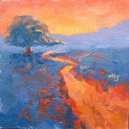 """#29 Lone Oak, End of Hazy Day"" original fine art by Kathy Johnson"