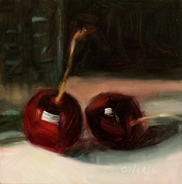 """Cherries and Medicine Bottle"" original fine art by Cindy Haase"
