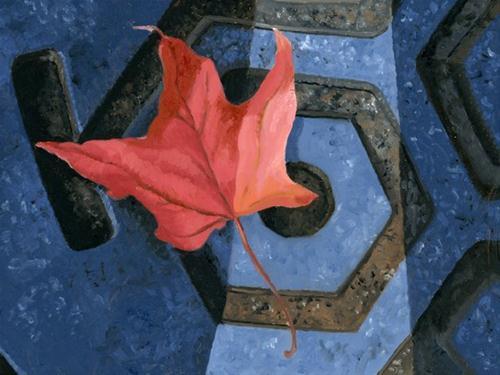"""Manhole cover and Leaf"" original fine art by Nancy Herman"