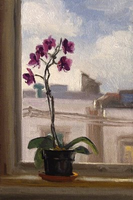 """""""Orchids on a Sill, Morning"""" original fine art by Abbey Ryan"""