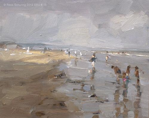 """""""Seascape summer # 15 Painting grey / A touch of sun and children playing"""" original fine art by Roos Schuring"""