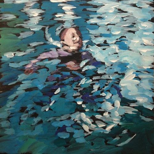 """Paddling Boy"" original fine art by Kat Corrigan"