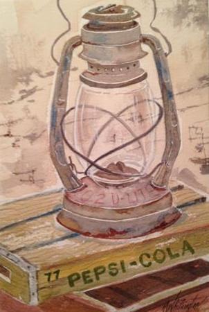 """Old Lantern"" original fine art by Margie Whittington"