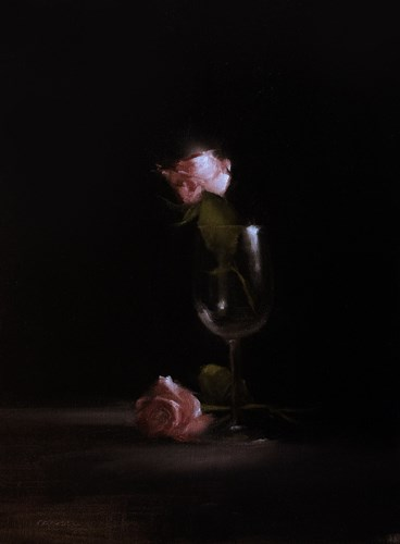 """Two Pink Roses"" original fine art by Neil Carroll"
