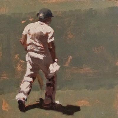 """""""BATSMAN 2 - Cricket at the MCG"""" original fine art by Helen Cooper"""