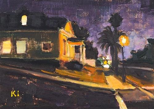 """San Diego Nocturne, Sherman Heights"" original fine art by Kevin Inman"
