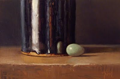 """Still Life with Robin's Egg and Tenmoku Bottle"" original fine art by Abbey Ryan"