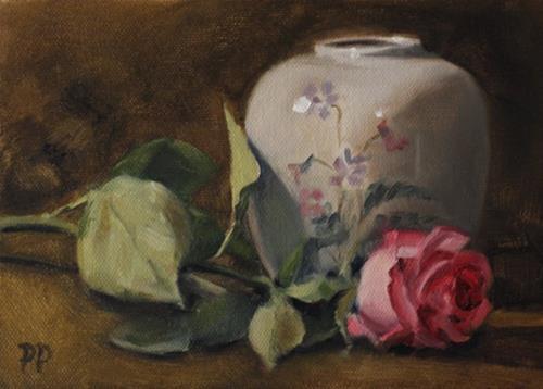 """Pink Rose"" original fine art by Pamela Poll"