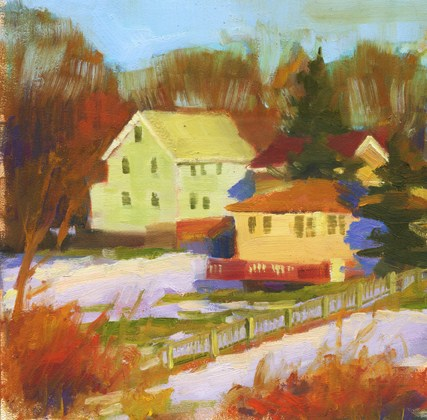 """""""Houses on the Parkway"""" original fine art by Kathy Weber"""
