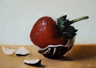 """Dipped Strawberry"" original fine art by Jonathan Aller"