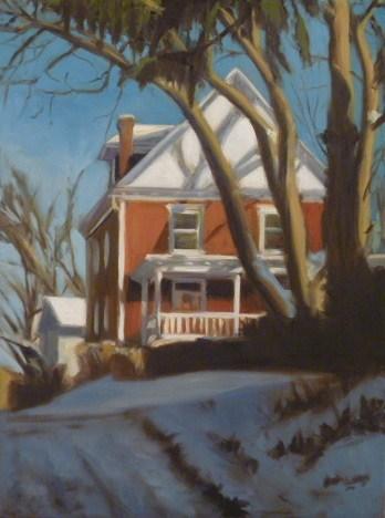 """""""Red House in a Snowy Alley"""" original fine art by Jonelle Summerfield"""