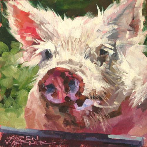 """""""Obnoxious Pig"""" original fine art by Karen Werner"""
