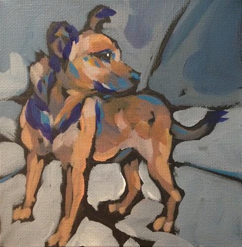 """Squirrel?"" original fine art by Kat Corrigan"