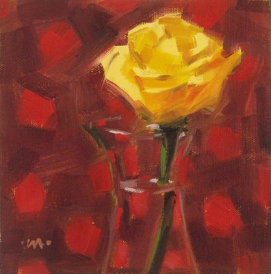 """Rose on Dots"" original fine art by Carol Marine"
