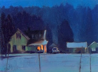 """""""WinterTwilight on Big Valley Rd.  oil landscape nocturn painting"""" original fine art by Robin Weiss"""