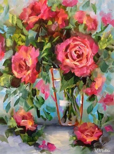 """SOLD ~ Blossom Rain Pink Roses by Texas Flower Artist Nancy Medina"" original fine art by Nancy Medina"