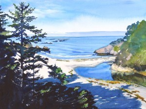 """Love at Jug Handle Beach"" original fine art by Mariko Irie"