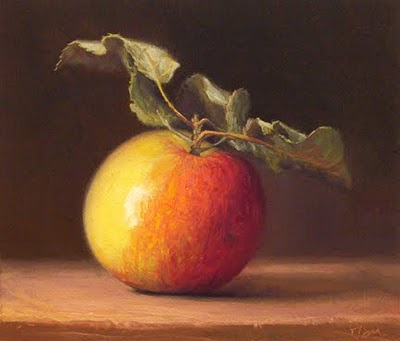 """""""Local Apple with Leaves"""" original fine art by Abbey Ryan"""