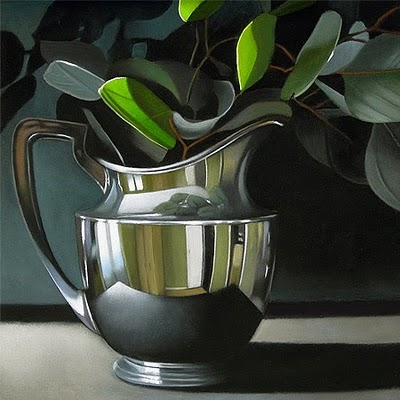 """Eucalyptus in Silver  6x 6"" original fine art by M Collier"