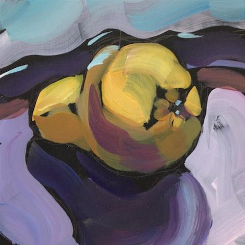 """A Pear. Lying On Its Side."" original fine art by Kat Corrigan"