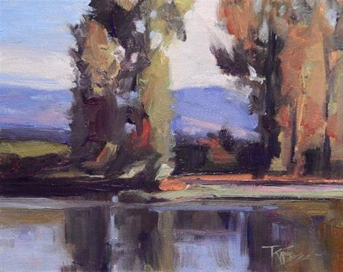 """""""River Reflections  mini,oil, landscape painting by Robin Weiss"""" original fine art by Robin Weiss"""