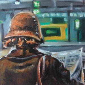 """Frau am Bahnhof"" original fine art by Sonja Neumann"