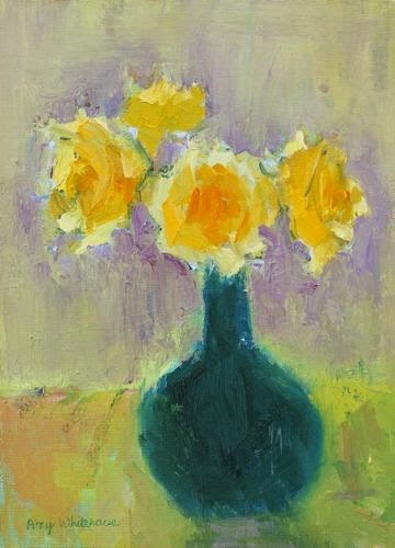 """""""Yellow Roses, Contemporary Floral Paintings by Arizona Artist Amy Whitehouse"""" original fine art by Amy Whitehouse"""