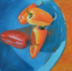 """""""Hot Peppers on a Cool Plate"""" original fine art by Robert Frankis"""