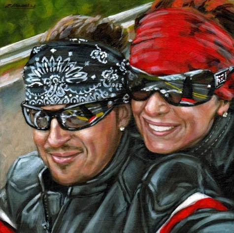 """""""At Arms Length#20, Cathy and Harold... Easy Rider series 6X6 acrylic on wood Panel"""" original fine art by Angela Hardy"""