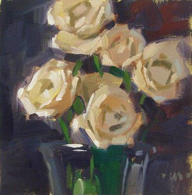 """White Roses --- SOLD"" original fine art by Carol Marine"