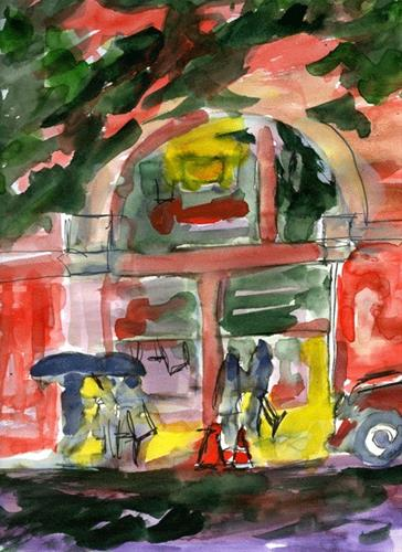 """Rain And Tourists"" original fine art by Donna Crosby"