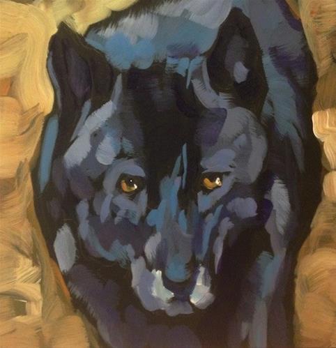 """""""Black Wolf Portrait"""" original fine art by Kat Corrigan"""