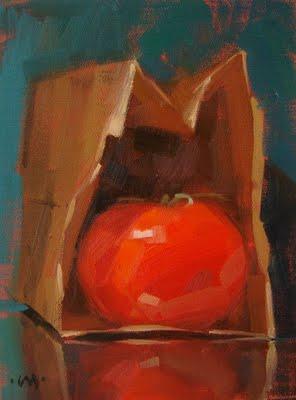 """In the Bag"" original fine art by Carol Marine"