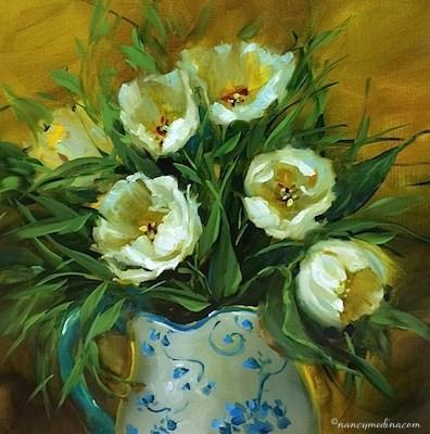 """Winter White Tulips - Flower Painting Classes and Workshops by Nancy Medina Art"" original fine art by Nancy Medina"