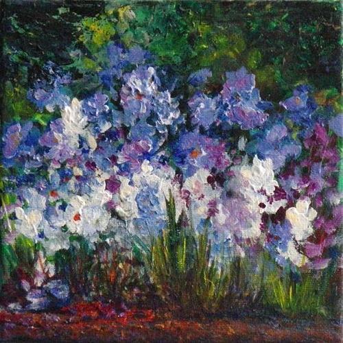 """1039 - Bed of Flowers - Miniature Masterpiece Series"" original fine art by Sea Dean"