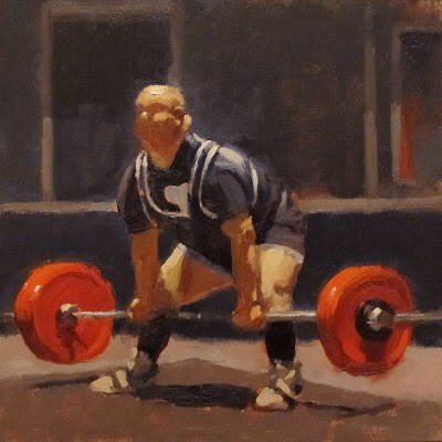 """WEIGHT LIFTER"" original fine art by Helen Cooper"