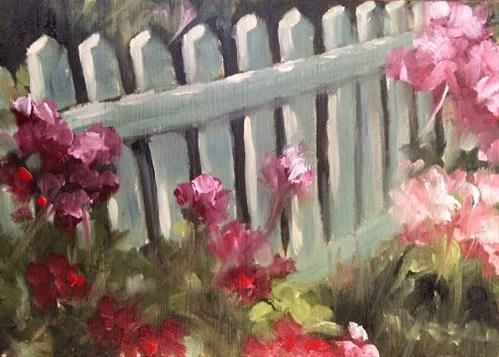 """Roses and Picket Fence 2"" original fine art by Elaine Juska Joseph"