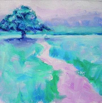 """""""#6 Lone Oak, Frosty Morning"""" original fine art by Kathy Johnson"""