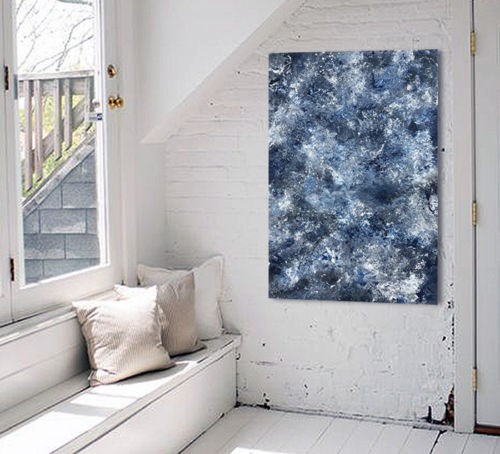 """Navy Blue Abstract Original"" original fine art by Sunny Avocado"