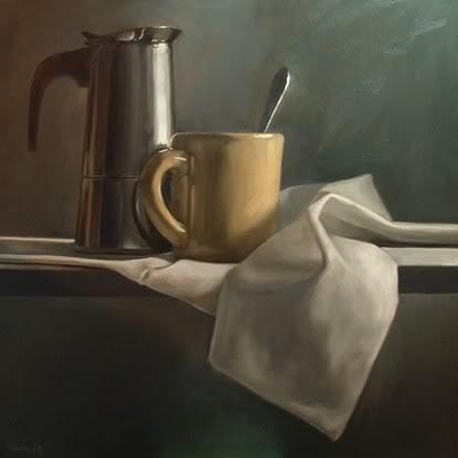 """Espresso with Mug and Spoon"" original fine art by Michael Naples"