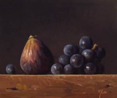 """Still Life with Fig and Concord Grapes"" original fine art by Abbey Ryan"