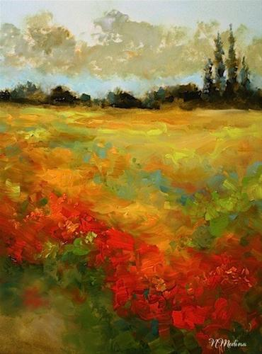 """Sunset Blaze Field of Wildflowers by Texas Artist Nancy Medina"" original fine art by Nancy Medina"