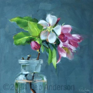 """Oil Painting: Apple Blossoms, gray background"" original fine art by Deb Anderson"