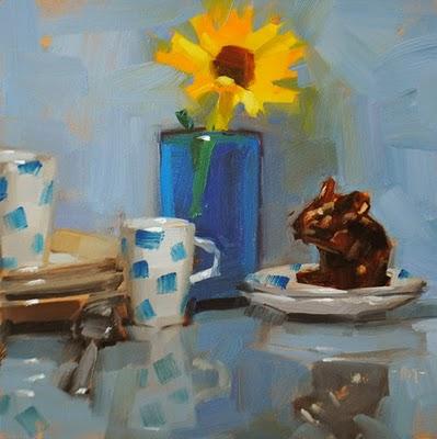 """Mouse with Breakfast"" original fine art by Carol Marine"
