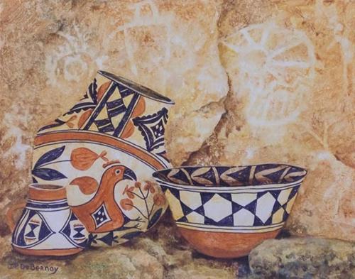"""Pots and Pictographs H"" original fine art by Jean Pierre DeBernay"